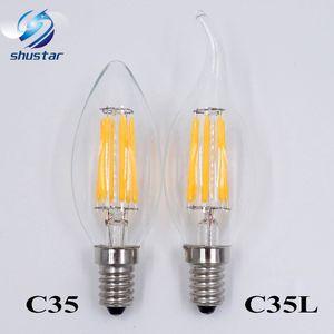 E12 E14 E27 B22 Filament LED vela bombilla 2W 4W 6W bombillas regulables Sustitución de 60W Filament Bombillas LED SAA UL AC85-265V