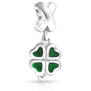 4 feuilles de trèfle fleur Dangle Spacer charm perle coulissante en métal Europea fit Pandora Chamilia Biagi bracelet de charme