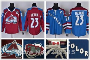 2016 Novo, Anthentic # 23 Homens Milan Hejduk Jersey Colorado Avalanche Hóquei No Gelo Jerseys Borgonha Maroon Vermelho Azul Colorado Avalanc