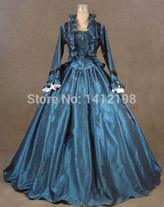 Wholesale-2015 vintage Blue Victorian Dress and Halloween High Quality Handmade Party Dresses Long Sleeve Ball Gown Free Shipping