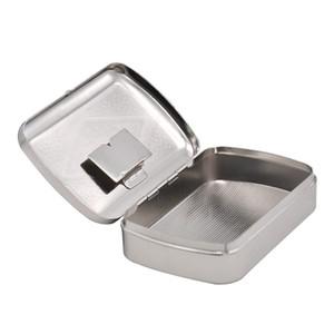 Silver metal portable Refillable cigarette tobacco case box, rolling machine paper herb grinder shisha hookah bong supplier