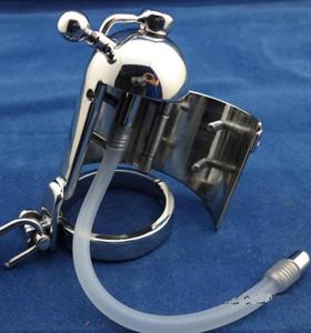 2018 последний дизайн мужской из нержавеющей стали Squeeze версия петух пенис Кейдж кольцо пояс верности устройство с длинным силиконовым катетером БДСМ секс-игрушки