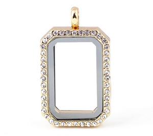 Monili di lusso 33 * 23 * 8mm Cornice quadrata foto Memoria di vetro magnetico Charms galleggianti Living Locket Fine gioielli in acciaio inox di colore diverso