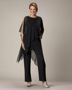 Venta caliente 2019 Negro traje de pantalones de la madre para la novia del novio damas para mujer baratos por encargo de la gasa del banquete de boda vestidos de noche