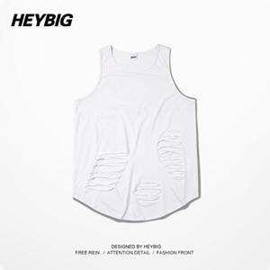 HEYBIG 2015 New Arrival High Fashion Tank Top GD Men Black blvck Bboy Tank Tops Kayne West American Casual Street Tops Holes