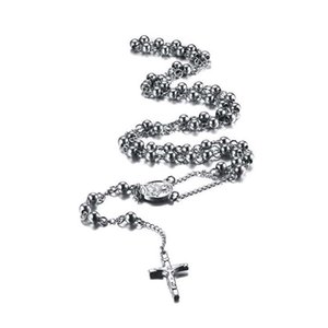 6mm Catholic Stainless Steel Beads Rosary Necklace with Crucifix Cross and Medal 27