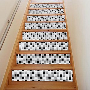 Venta caliente 3D Plaid Imprimir Escaleras Pegatinas DIY para Habitación Escaleras Decoración Home Floor Wall Stickers