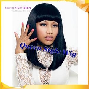 Perruque afro-américaine, célébrité nicki minaj longueur moyenne Bob coiffure synthétique cheveux personnalisé perruques pour les femmes noires