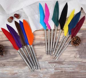 Античный Гусь перо многоцветный перо Dip Pen авторучки для написания картины свадебный подарок