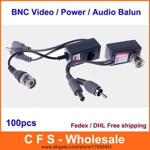 Balun BNC coaxial CCTV RJ45 avec câble d'alimentation audio / vidéo sur l'émetteur-récepteur 100pcs / lot (50 packs) Fedex / DHL Livraison gratuite