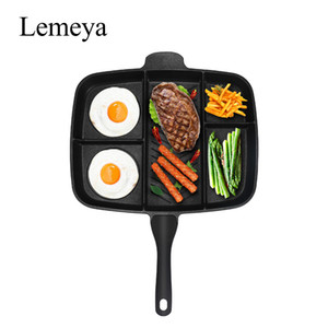 "Fryer Pan Non-Stick 5 en 1 Fry Pan Divided Grill Fry Horno Meal Skillet 15 ""Negro"