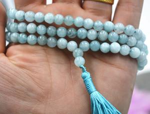 6mm Stein buddhistische Natur Aquamarin 108 Gebetskette Mala Halskette