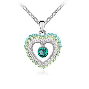 Love Heart Crystal Pendant Necklace High Quality Austrian Crystal Necklace Full Rhinestone Women Fashion Jewelry Free shipping 8021