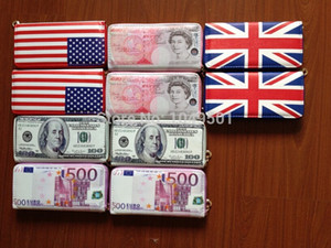 New Creative 500 EURO 50 pounds 100 Dollar US national flag Bill Money PU Wallet for man and woman Bank card holder Purse Carteira Gift