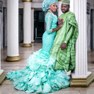 박하 그린 레이스 이슬람 웨딩 드레스 Hijab 3 / 4 슬리브 O - neck 두바이 아랍어 드레스 계층화 된 2015 가운 드레 이어 신부 가운
