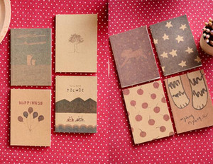 2015 8 Styles Mix Korean Stationery New Vintage Style Kraft Paper Paint Pattern Notebook  Paper Notepad