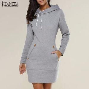 X201711 Vestidos 2017 Bahar ZANZEA Kadınlar Boy Casual Düz Katı Elbise Bayanlar Uzun Kollu Kapşonlu Cepler Mini Elbiseler Artı Boyutu