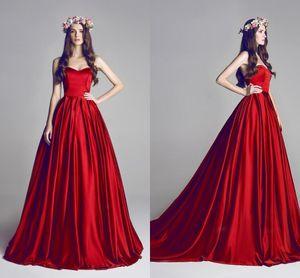 Rouge foncé robe de bal Robes 2020 chérie élégant satin dos nu Robes de mariée formelles empire informel robes de mariée BO7095
