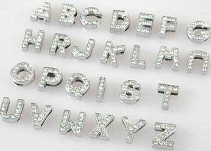 Großhandel 10mm 130pcs / lot A-Z voller Strass Dias Buchstaben DIY Alphabet Charme Zubehör passen für 10mm Haustier Kragen Schlüsselanhänger