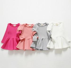 2015 Abiti di moda Solid Girls Dress Princess Leisure Abbigliamento di base senza maniche Bambini Vestiti per bambini Pink White Fuchsia Grigio K5009