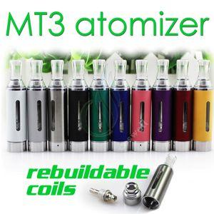 MT3 atomiseur 2.4ml eVod BCC MT3 Cigarette électronique reconstructible bobine inférieure réservoir Clearomizer pour EGO EVOD batterie E Cigarette DHL gratuit