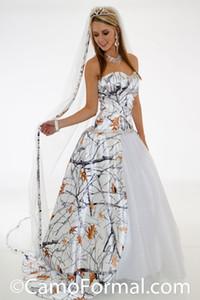 Moda Beyaz Kar Camo Gelinlik ile Glitter Net Kristal Boncuklu Gelin Elbiseler Ayrılabilir Tren ile Realtree Gelinlikler
