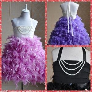 Высокое качество Pearl пластроны платье девушки цветка пера A-Line Little Girl Party платье Холтер Pageant Часть платье День Часть платье Дешевые