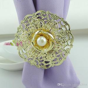 2015 Yeni Moda Altın Metal Lotus Çiçek Peçete Halkaları Beyaz İnci otel düğün Ziyafet Masa Dekorasyon Aksesuarları için peçete tutucu