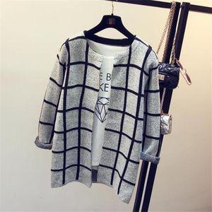All'ingrosso-New Fashion Stars Pattern Cardigan Donna Casual Dolce Maglioni lavorati a maglia a maniche lunghe Slim Donna Cardigan lungo maglione