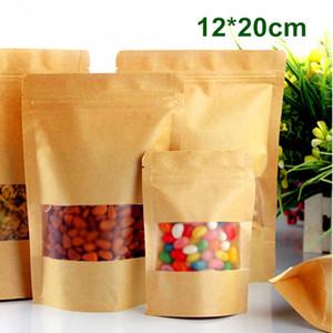 """12 * 20cm (4.7 """"x7.9"""") Çanta ile Mat Şeffaf Pencere Fermuar Gıda Saklama Torbası Yukarı Kılıfı Doypack Standı Packaging Ambalaj Kraft Kağıt Smooth"""