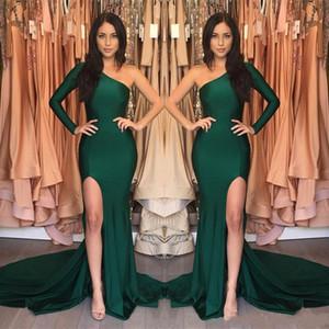 2020 Nouveau dernier une épaule verte sirène longue robes de soirée côté Cour de Split train satiné Robes de soirée Robe De Noche