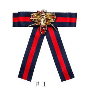 Las mujeres de moda hechos a mano cinta de raso pajarita Corbata camisa de nudo de lazo Clips de corbata Broche Pins Camisas Collar Libélula Joyería 2