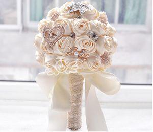 Handmade Роза Новый букет невесты Свадебные аксессуары Брошь Кристалл Перл Свадебный букет с цветами