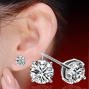 Woman silver earrings items crystal jewelry stud earrings wedding vintage four claw diamond charms new arrival