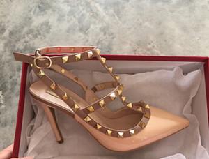 2017 designer de marca de mulheres de salto alto 10 cm couro de moda rebites sexy apontou sapatos sapatos de festa de casamento sandálias alças duplas