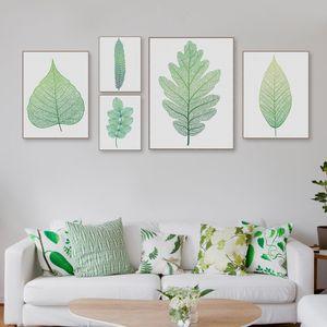 Moderno Nordic Green Plant Leaf Canvas A4 Art Poster Impresión de Pared Imagen para el Hogar Decoración Hermosa Chica Habitación Pintura Grande Sin Marco Regalos