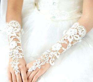 Sıcak Dantel Uzun Düğün Eldiven Fransız Dantel Uzun Eldiven Fildişi Beyaz Dantel Parmaksız Eldiven, Gelin Eldiven Düğün Aksesuar Victoria CPA242