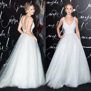 Jennifer Lawrence en vestidos de fiesta sin espalda con cuello en V Alfombra roja Vestidos de noche Longitud del piso Una línea Vestidos De Fiesta Vestido formal de tul