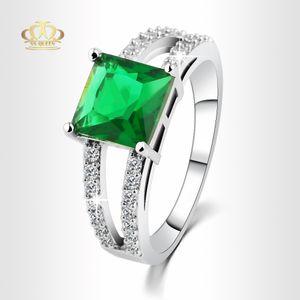 pedra quadrada ouro branco verde esmeralda Engagement Rings 18K preenchido