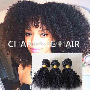 7A Mongolian Kinky Curly Virgin Hair 3pcs Lot, Mongolian Afro Kinky Curly Bundles Extensiones de tejido rizado Kinky de cabello humano