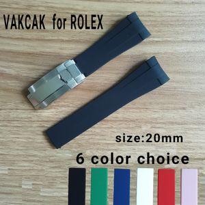 TOP ajustement de la sangle de taille de 20 mm pour ROLEX SUB / GMT nouveaux accessoires montre de bande imperméable souple et durable avec fermoir en argent en acier d'origine 5