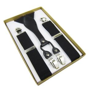 Tirantes de cuero genuino para hombre Y-Back Vintage Braces Clip-On negro 3.5cm 100cm Envío gratuito