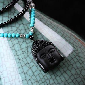 1pcs / lot nuovo naturale ossidiana cristallo Buddha Sakyamuni collana di Lucky sicurezza talismani Collana lunga collana