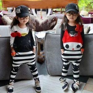 الحمالة Thouser بنات الخريف الكرتون الكورية الشريط رومبير أزياء الأطفال القط نمط عارضة الملابس الداخلية للأطفال عموما الحمالة وبذلة 177
