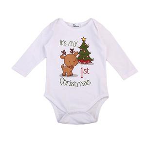 Mameluco del bebé de la Navidad Recién nacido Bebé Bebés Niños Niñas Dibujos animados Ciervos Impresión del árbol de navidad Manga larga Mameluco Otoño Ropa de bebé Mono