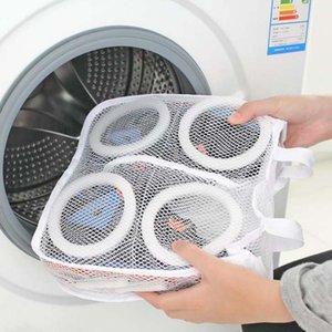 Atacado-New alta qualidade de moda de armazenamento Organizer Bags Mesh Lavandaria Shoes Bags Seco Shoe Organizer Portátil sacos de lavar roupa por atacado