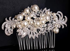 2015 Yeni Varış Lüks Ağır Kristal Saç Combs Inciler Saç Aksesuarları Düğün Gelin Tiaras Başkanı Jewel TS00093