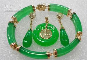 Set di gioielli per collana con pendente a forma di orecchini con giada verde a 2 fili