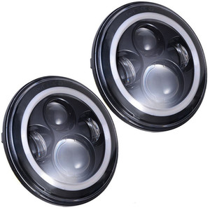 """7"""" Bombilla LED Faros con Ojos de Angel Blanca halo Anillo ámbar DRL luces de giro para Jeep Wrangler JK LJ CJ Hummer H1 H2"""