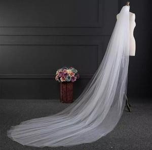 Cheap Two Layer 3M Tulle wedding Veil Cut Edge Bridal Veil Chapel Length Tulle Beautiful Wedding Bridal Accessiories